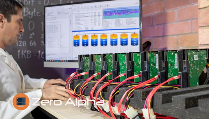 A Sydney data recovery technician uses software to virtually create a failed raid drive